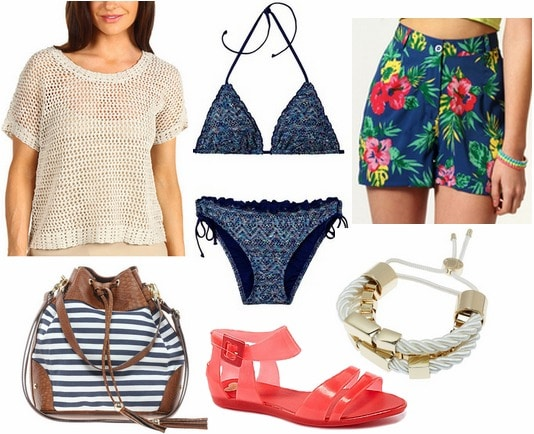 Whit spring 2013 inspired outfit open weave blouse, printed shorts. bikini