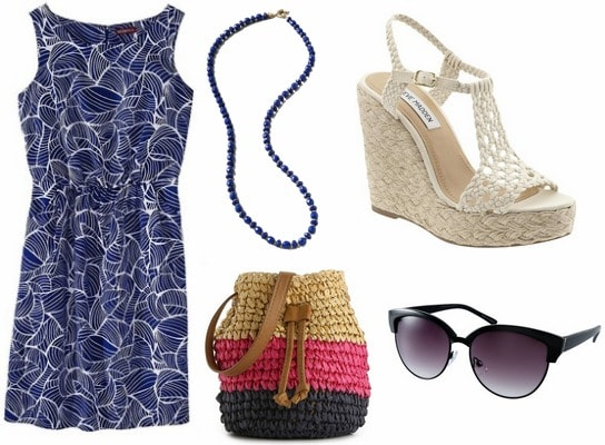 Whit spring 2013 inspired outfit printed dress, blue necklace, straw bag