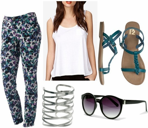 Whit spring 2013 inspired outfit printed pants, white tank, teal sandals