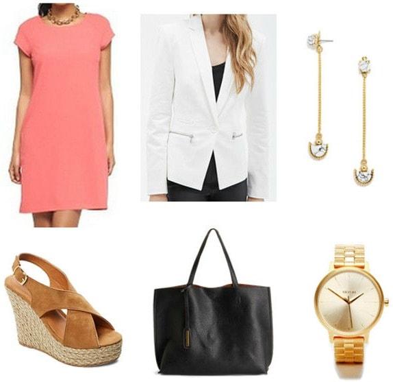 white blazer and coral dress