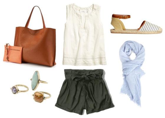 white blouse, green shorts, espadrille flats