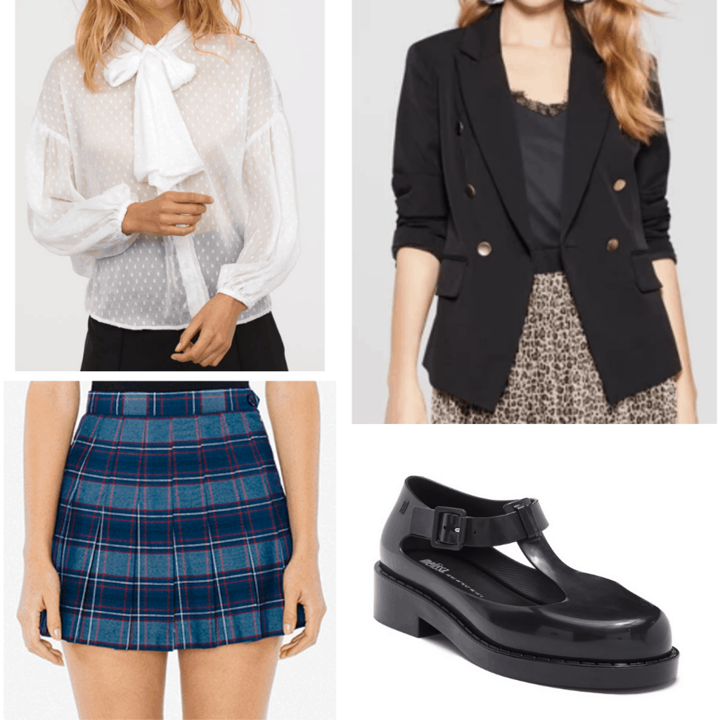 White blouse with blue plaid skirt, black blazer, and black mary janes