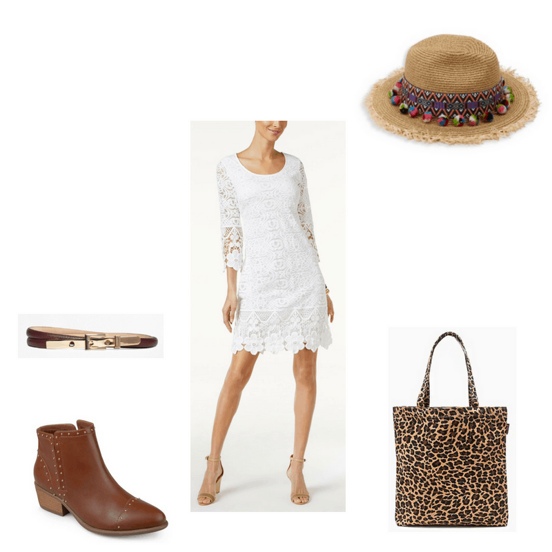 Outfit with white crochet dress, studded booties, leopard print tote, pom pom hat, and skinny belt
