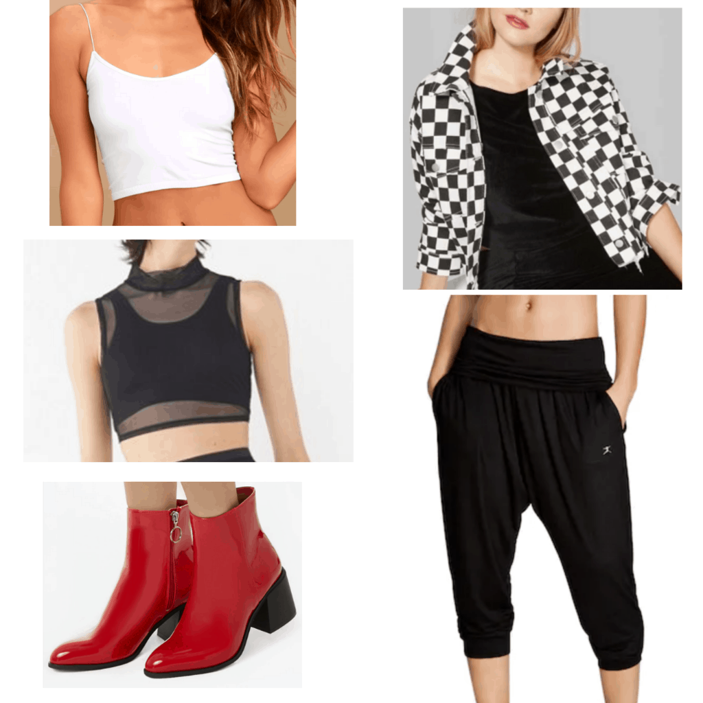 White longline bralette with black mesh turtle neck, black and white checkered jacket, black harem pants, and red boots