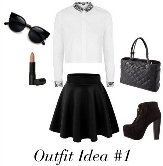Audrey Hepburn outfit 1 - Black and white look with sunglasses, quilted tote, Lita boots