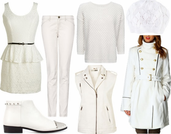 White clothes and accessories