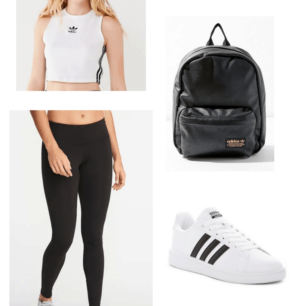 White Adidas crop with Adidas sneakers and backpack, black leggings