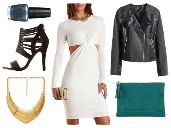 White cutout dress moto jacket black heels