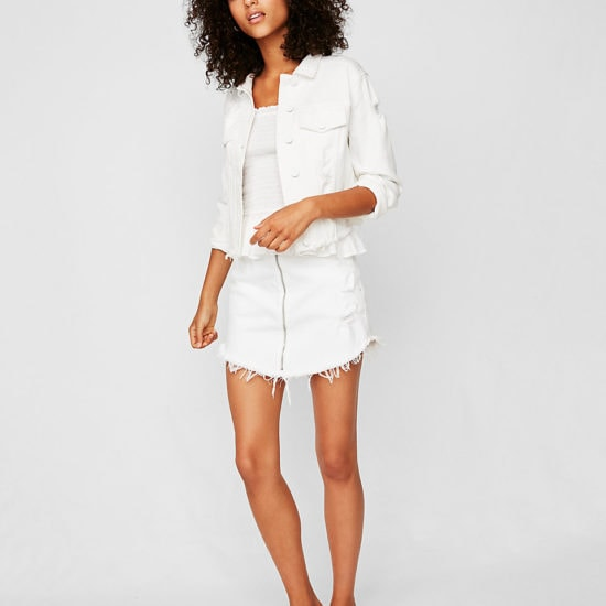 White denim jacket with white denim skirt