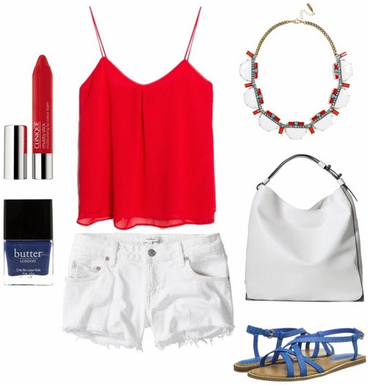 White denim shorts daytime look