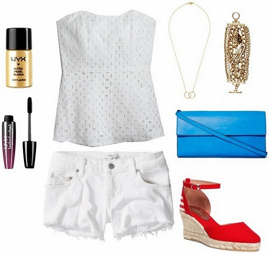 White denim shorts night outfit