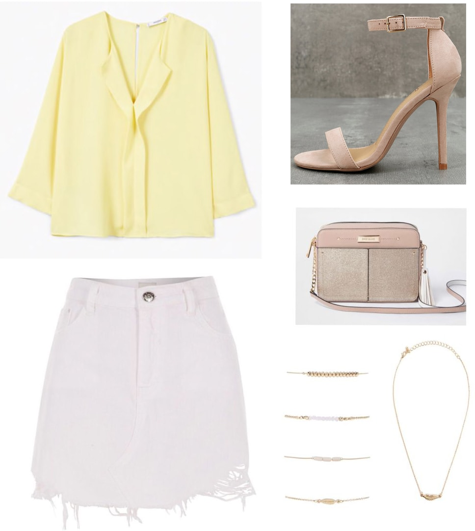 White denim skirt outfit: Yellow ruffle front long sleeve blouse, nude strappy heels, nude bag, gold jewelry