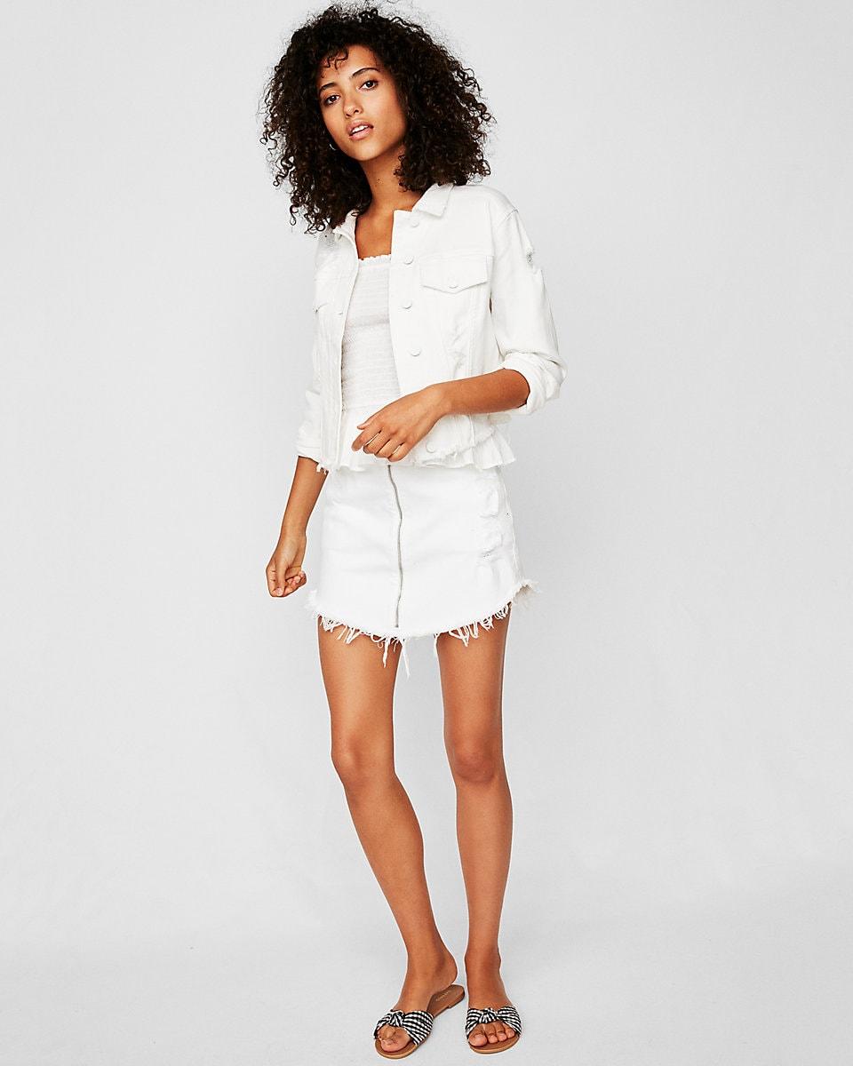 White denim jacket with white denim skirt