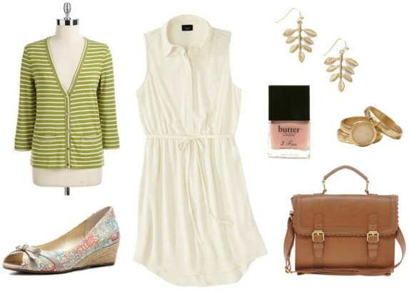White dress, espadrilles, stripe cardigan