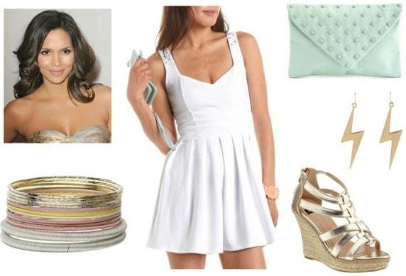 White dress, esparille wedges, clutch