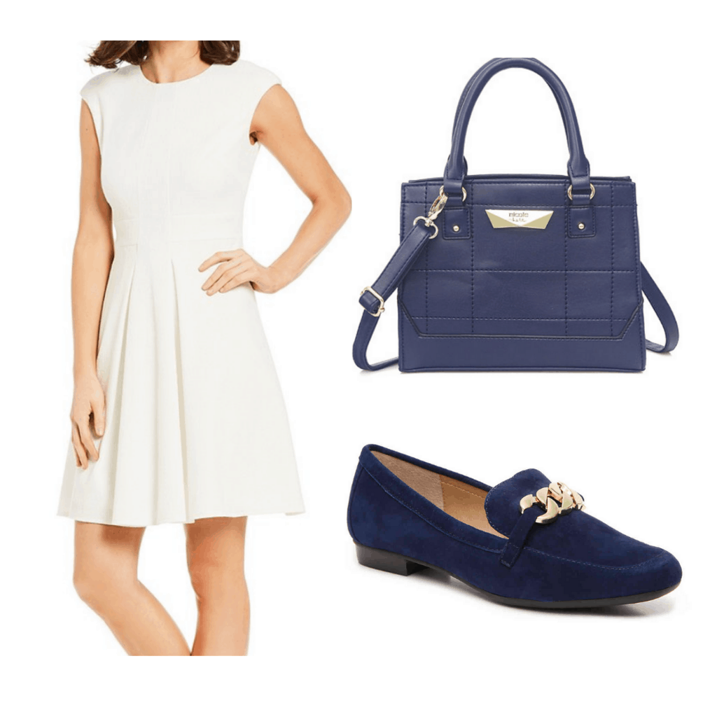 White A-line dress with navy handbag and navy loafers