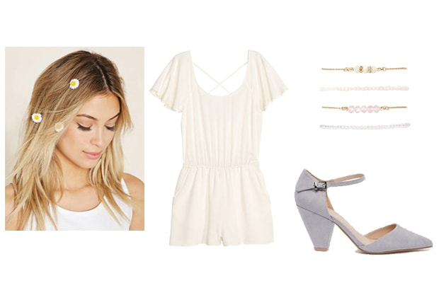 Delicate white romper with flowers