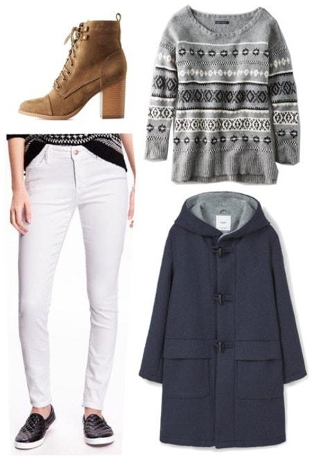 White jeans duffle coat fairisle sweater lace up boots