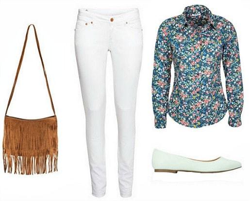 White jeans, floral blouse, mint flats