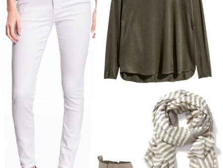 White jeans green sweater striped scarf ankle boots