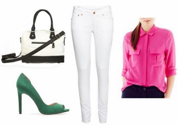 White Jeans, Pink Blouse, Pumps