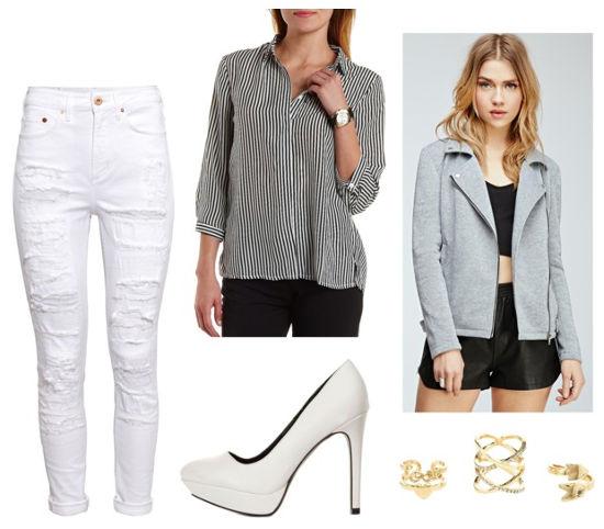 white jeans, striped shirt, gray moto jacket