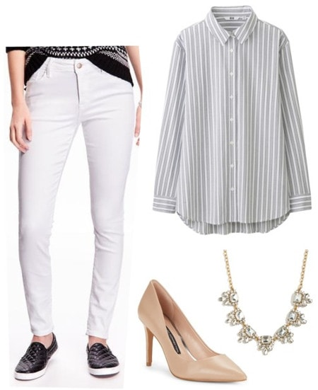 White jeans striped shirt nude heels statement necklace