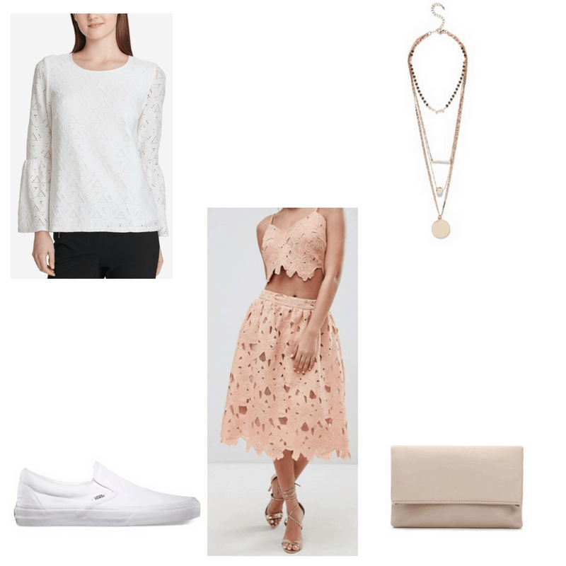 Outfit with white lace bell-sleeve top, pink crochet lace midi skirt, layered necklace, white slip-ons, and neutral clutch