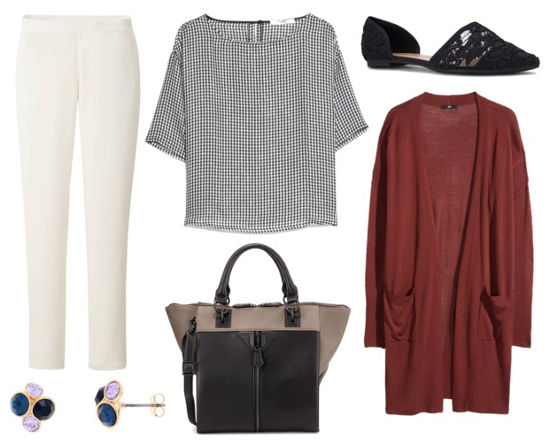 White pants, gingham blouse, burgundy cardigan