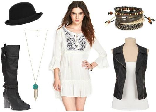 White peasant dress moto vest look