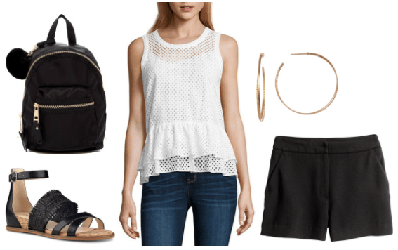 Summer outfit idea: White mesh peplum tank, black chino shorts, black strappy sandals, black mini backpack with pom pom detail, gold hoop earrings