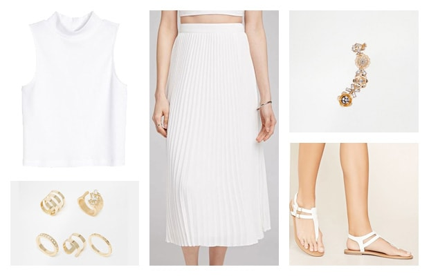 White pleated midi skirt monochromatic spring outfit