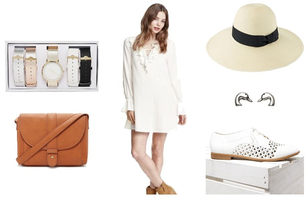 White ruffle dress spring outfit