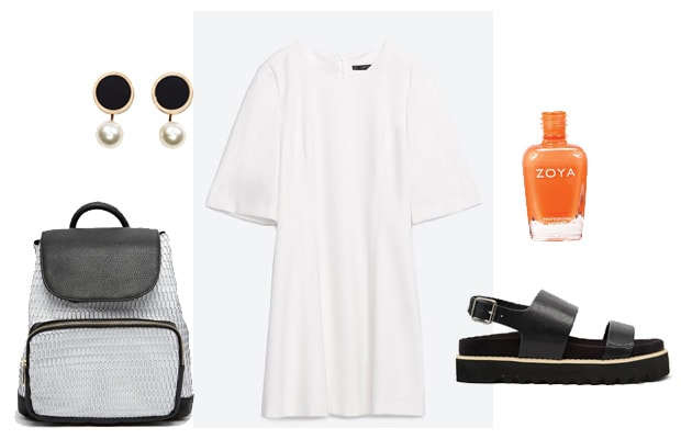 White t-shirt dress with backpack casual street outfit