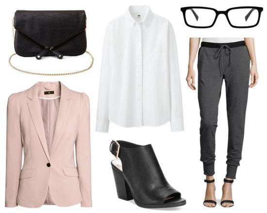 White shirt gray joggers pink blazer