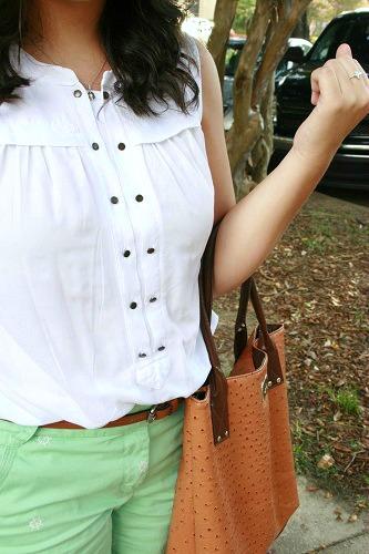 White sleeveless blouse college style