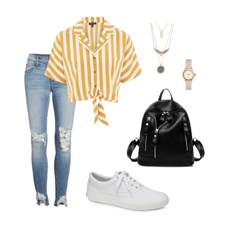White sneakers outfit for Spring/Summer 2018: Striped cropped shirt, ripped skinny jeans, black mini backpack, rose pink watch