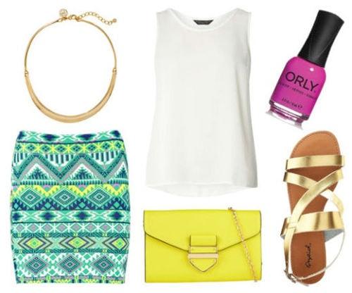 white tank, printed skirt, gold sandals