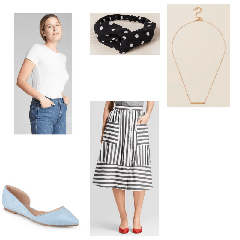 Outfit with white tee, black and white skirt, gold bar necklace, polka dot headband, and light blue flats