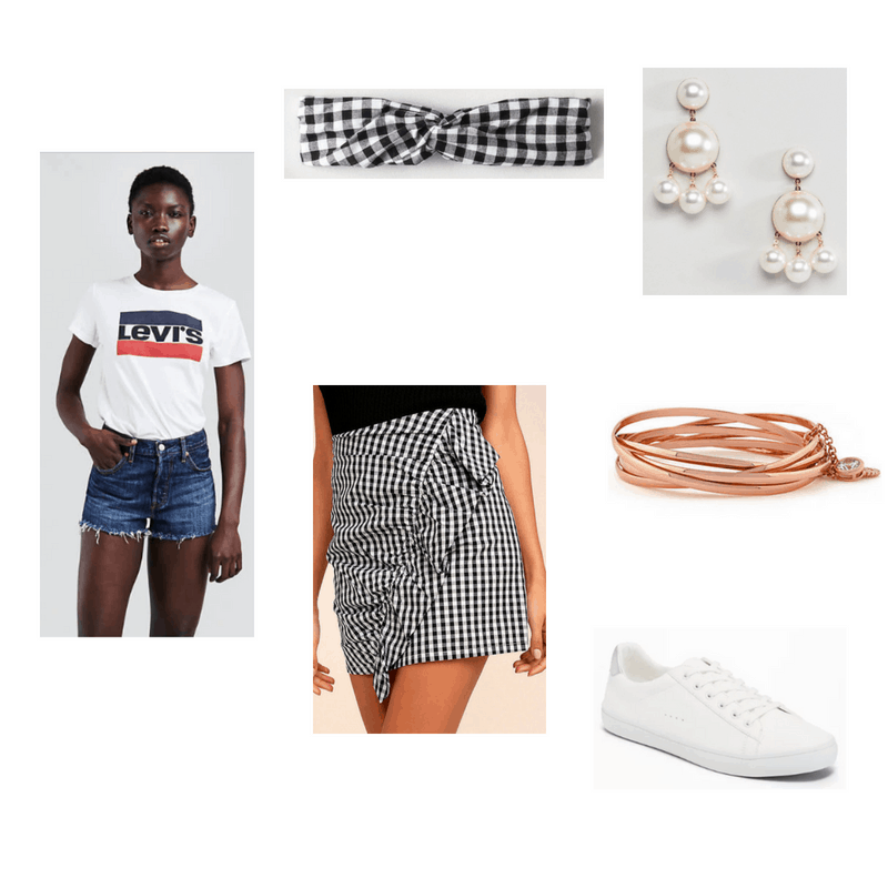 Outfit with white Levi's tee, gingham ruffle wrap skirt, gingham headband, pearl earrings, rose gold bracelet, and white sneakers