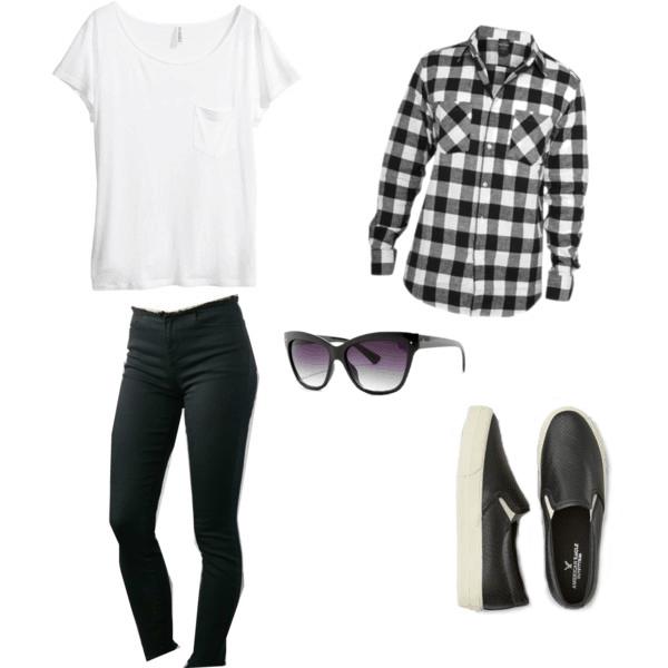 white tee, black jeans, plaid shirt