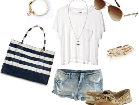 White tee shirt and jeans outfit 1: Nautical prep with striped handbag, boat shoes, sunglasses, rope bracelet, and necklace