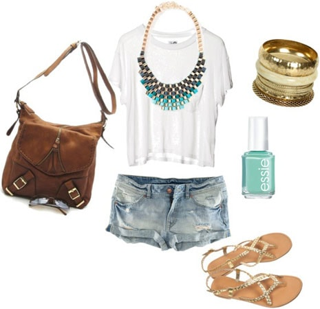 White tee shirt and jeans outfit 2: Statement necklace, turquoise nail polish, metallic sandals, brown buckled bag