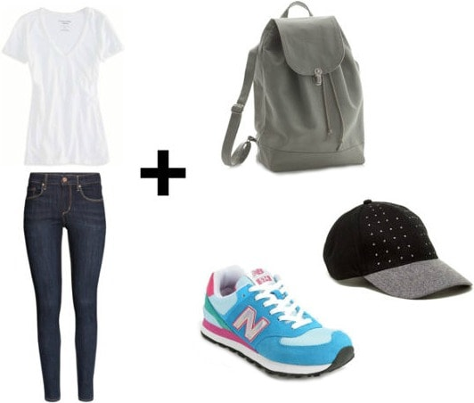 White tee, skinny jeans, baseball cap look
