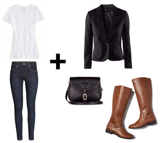 White tee skinny jeans blazer