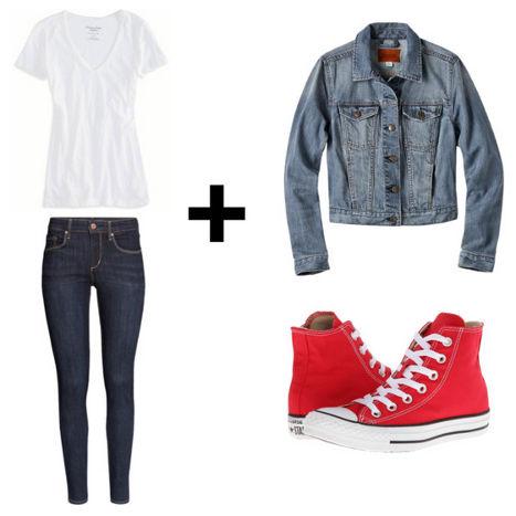 White tee skinny jeans denim jacket