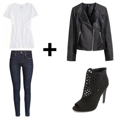 White tee skinny jeans moto jacket
