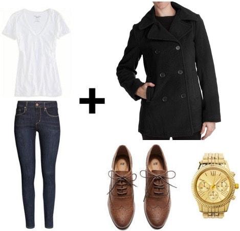 White tee, skinny jeans, pea coat look