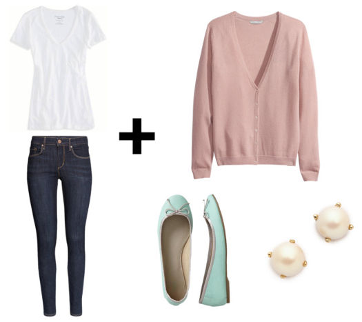 White tee skinny jeans pink cardigan