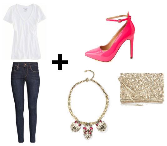 White tee skinny jeans pink heels